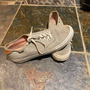 RARE gray and leather vans sneakers